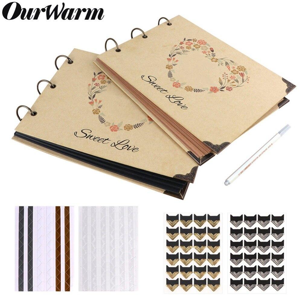 Ourwarm 60 Seiten Diy Hochzeit Fotoalbum Kraft Papier Gastebuch