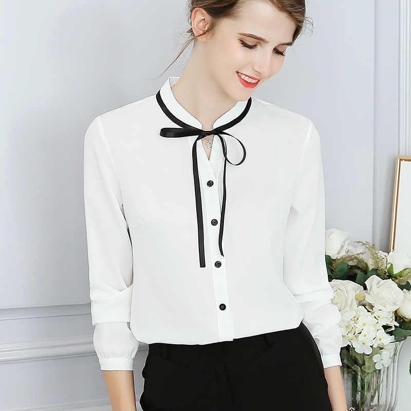 Mulheres Blusas Outono Tops Ladies Escritório Chiffon Blusa Manga Comprida Bow Magro Camisa Branca de Trabalho Bodycon Camisas Blusas Mujer