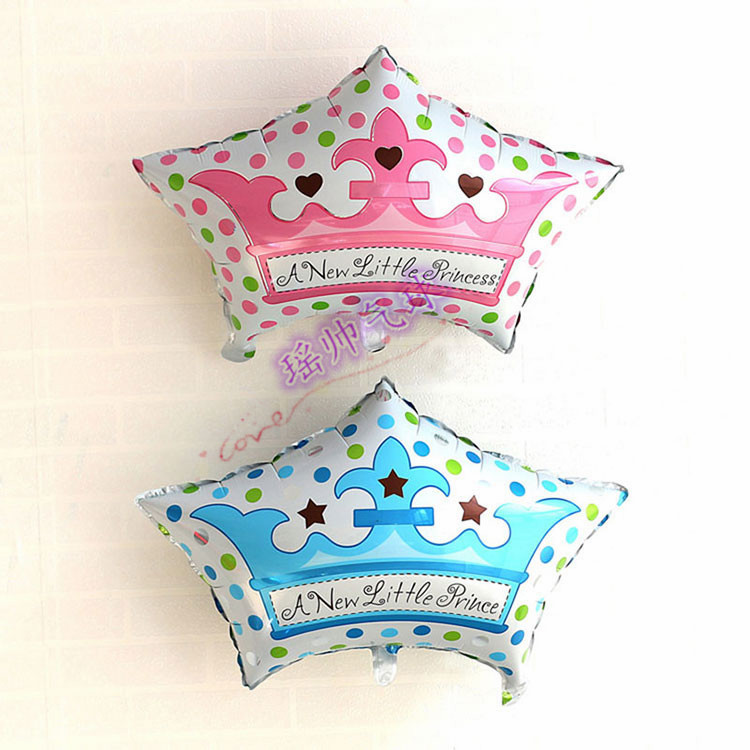 50pcslots New Little Princess Baby Shower Prince Crown Foil