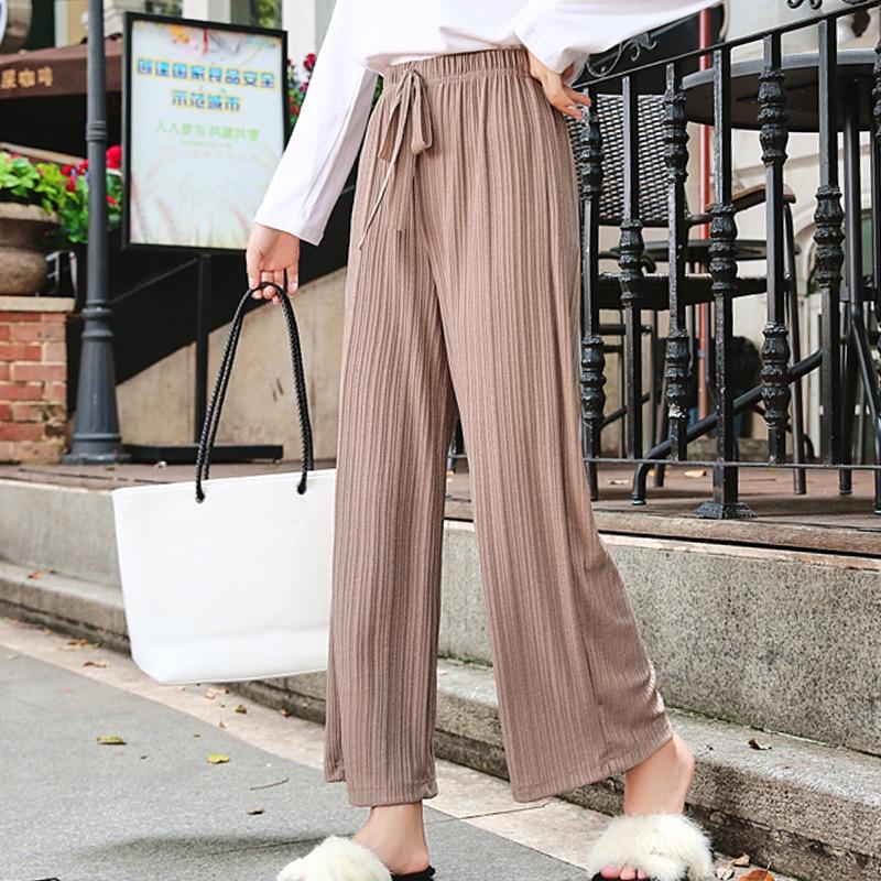 Womem   wide     leg     pants   2019 spring summer female vintage solid loose elegant elastic waist knit   pant   casual trousers office lady