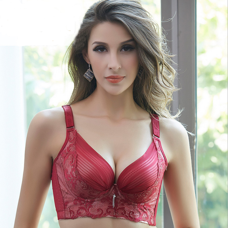 Sexy Underwear Women <font><b>Bra</b></font> Push Up 38C 85C 42C <font><b>95C</b></font> cup Embroidery Gold Big Chest Five Breasted Broadening Collection <font><b>Bras</b></font> image