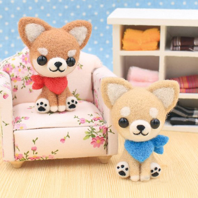 2019 Creative Cute Dog Pet Toy Doll Wool Felt Poked Kitting Non-Finished Handcarft Wool Felting Material Package