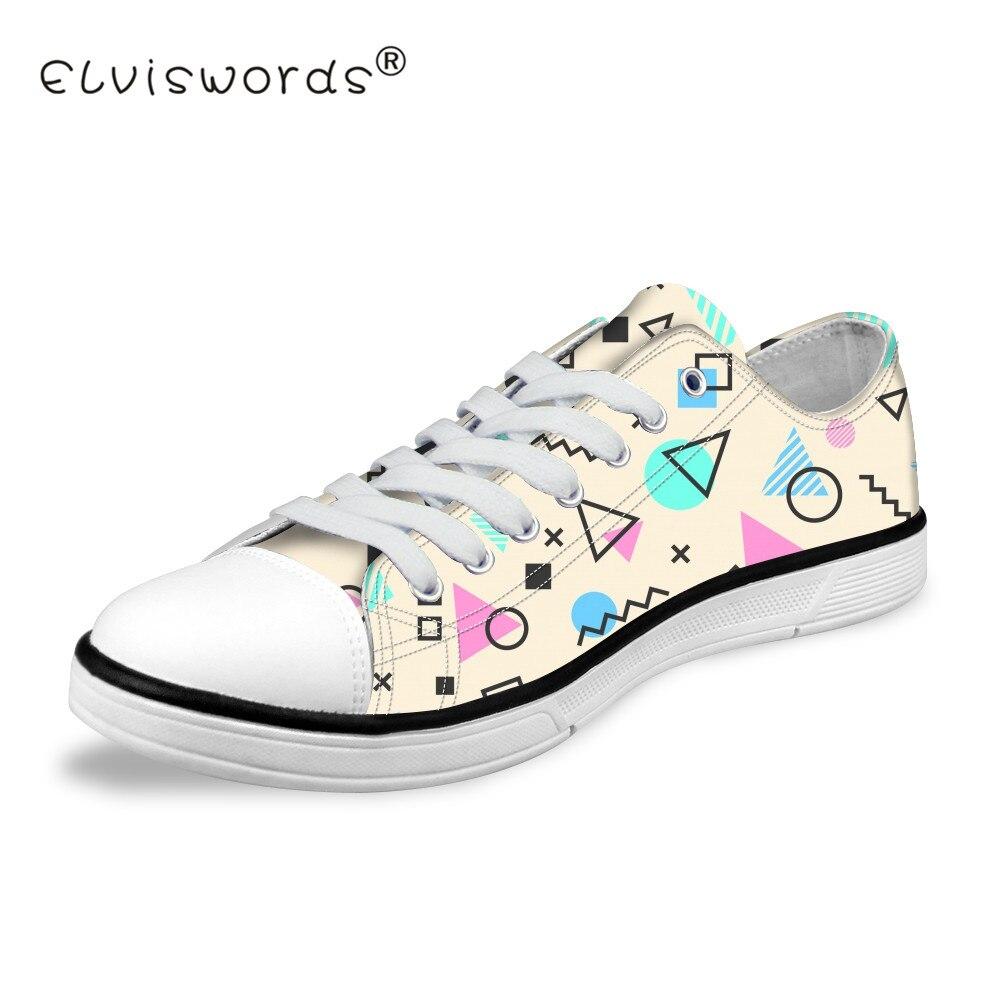 ELVISWORDS Femmes Sneakers Adolescents Crème Glacée Impression Low Top Toile Chaussures pour les Filles de Bande Dessinée Motif Vulcaniser Chaussures Appartements