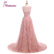 Dusty Rose Elegant Long Evening Dresses 2017 A-Line Lace Appliqued Kvinnor Festklänningar Abendkleider Abiye Robe De Soiree