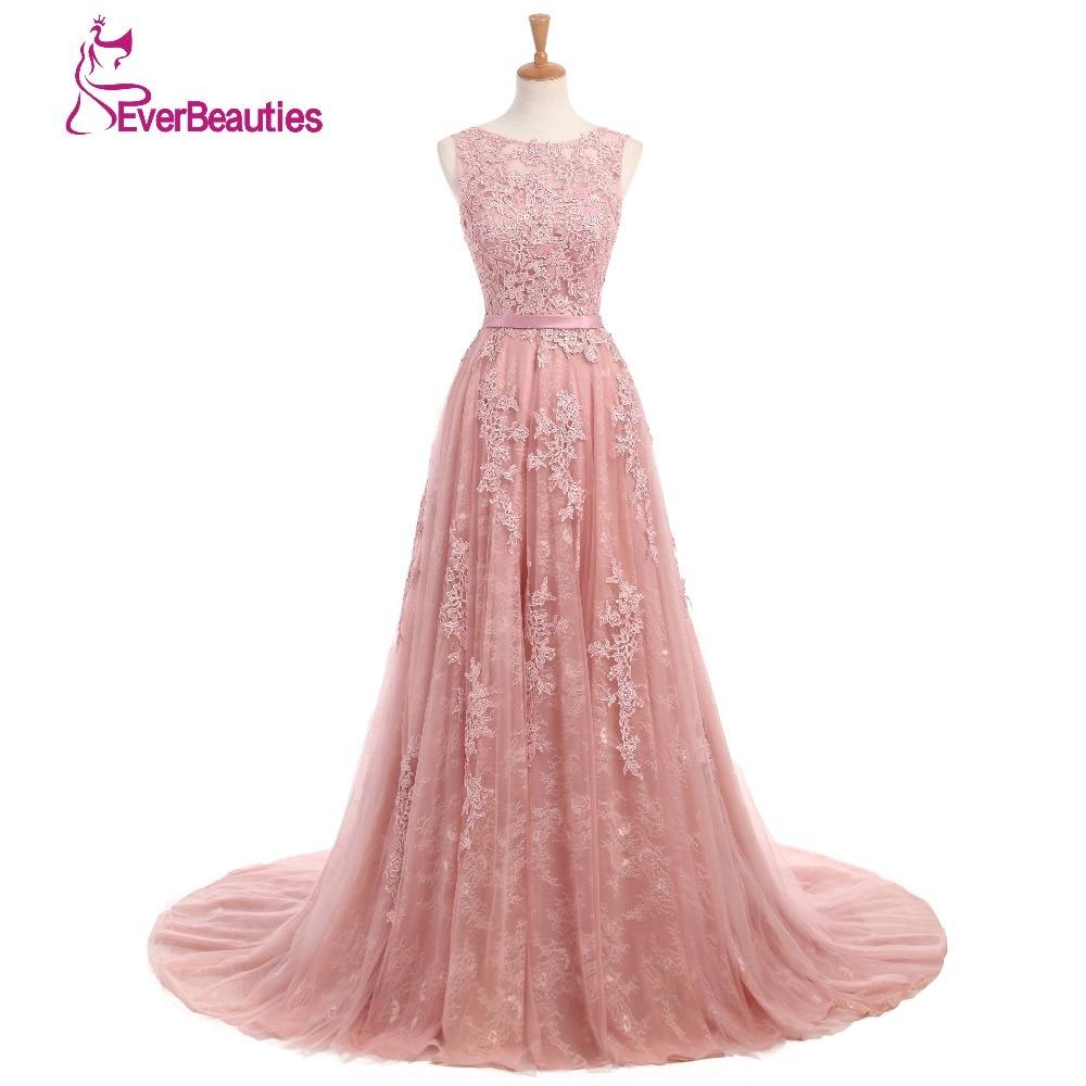 Elie Saab   Evening     Dresses   2019 A-Line Lace Appliqued Women Party Dusty Rose Elegannt Long Abendkleider Abiye Robe De Soiree