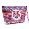 New 2017 Owl design Women Fashion Pu leather Dumpling Shape Waterproof foldable Girls Cosmetic Case maquilhagem Make up bag