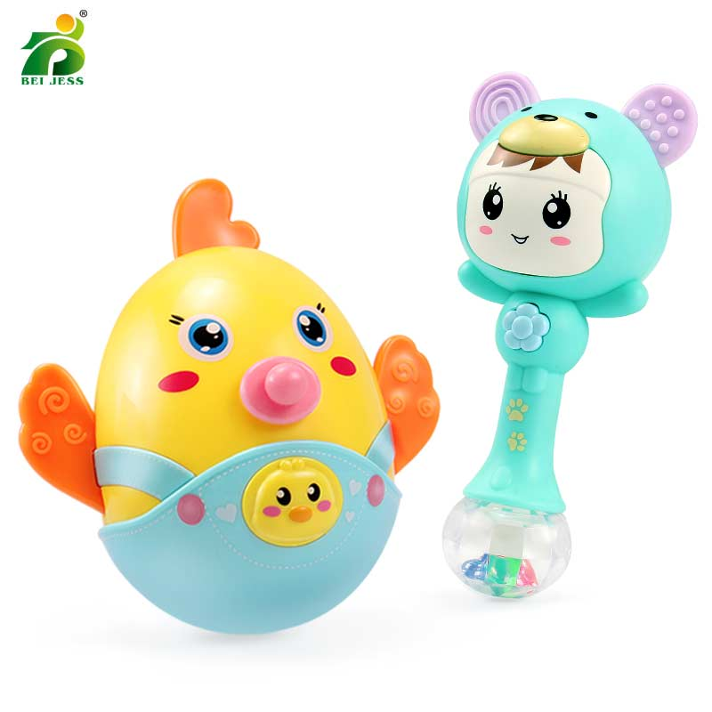 Toy For Newborn 0-12 Months Baby Rattles Tumbler Musical Light Doll Bell Soft Animal Education Gifts BEI JESS