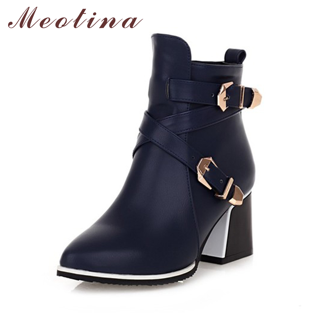 Meotina Winter Women Boots Thick High Heels Ankle Boots Buckle Autumn Ladies Boots Female Zip Blue Red Shoes Large Size 34-43 meotina women ankle boots high heels wedge shoes winter boots lace up zip velvet shoes bling short boots heels large size 33 42