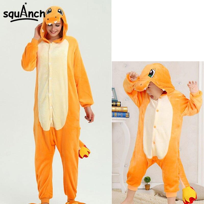 Charizard Kigurumis Cartoon Anime Onesie Adult Kid Family Funny Pajama Halloween Home Overall Winter Jumpsuit Wholesale