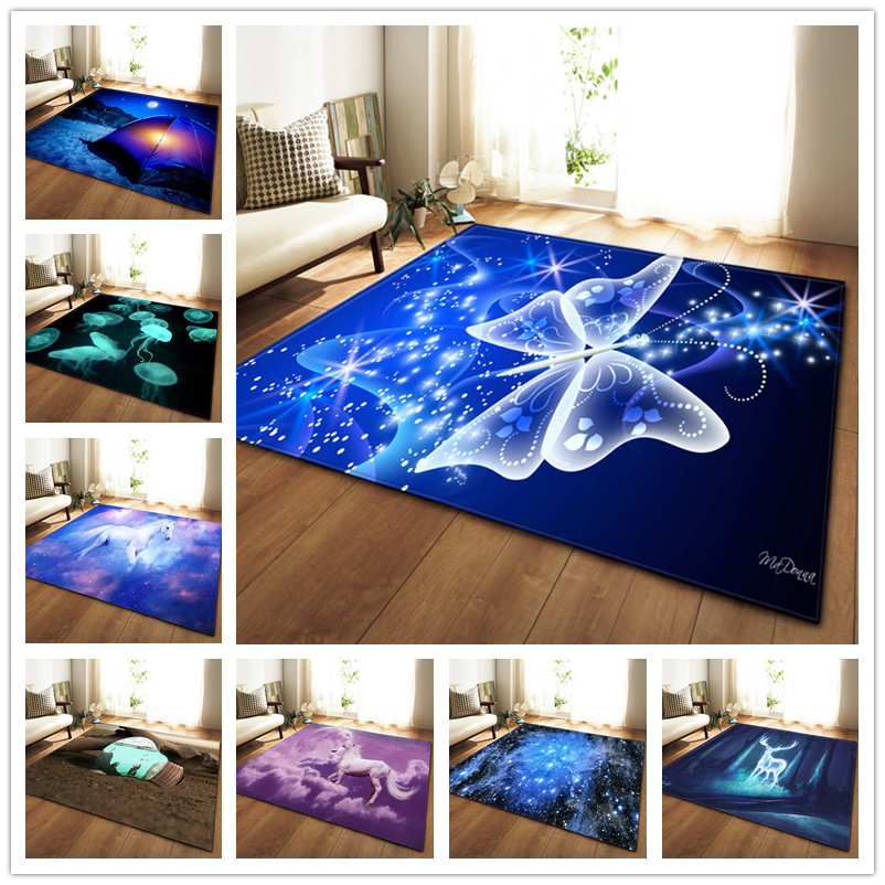 Modern Large Size Floor Mat 3D Dream Unicorn Butterfly Printed Carpets Home Decor Rug Soft Flannel Bedroom Living Room Area Rugs