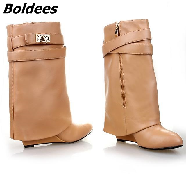 d62c95fd64 Unique Design Chic Black Turned Over Buckle Ankle Boots Fashion Women Side  Zip Wedge Boots Hot Selling Pointed Toe Shoes-in Ankle Boots from Shoes on  ...