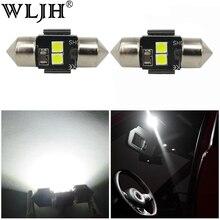 WLJH 2x White 3030 LED DE3021 DE3022 28mm 29mm Festoon Lamp Bulb Car Auto Interior Dome Map Reading Sunvisor Vanity Mirror Light