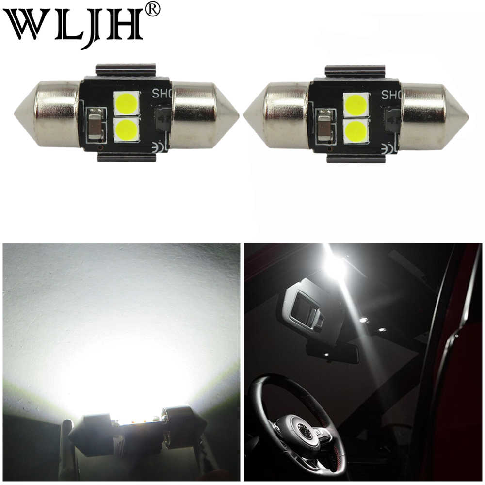 WLJH 2x White 3030 LED DE3021 DE3022 28mm 29mm Festoon Lamp Bulb Car Auto Interior Dome Map Reading Sunvisor Vanity Mirror Light