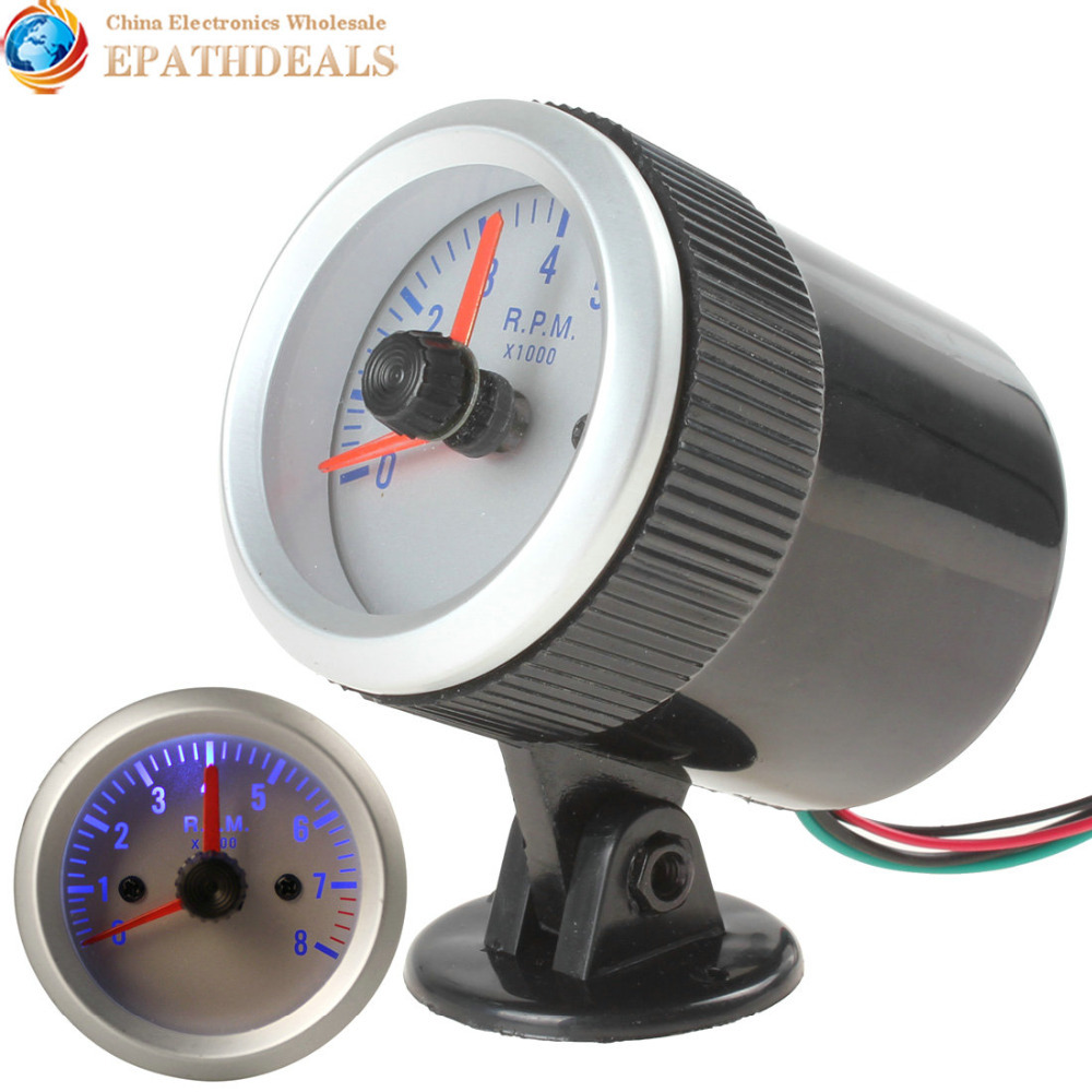 0 8000 rpm blue light auto car tachometer tach gauge tacho. Black Bedroom Furniture Sets. Home Design Ideas
