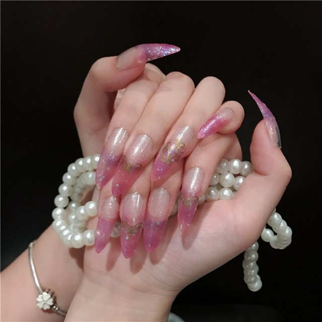 Online Shop Clear Pink False Nails Glitter Lace Patterns Super Long ...