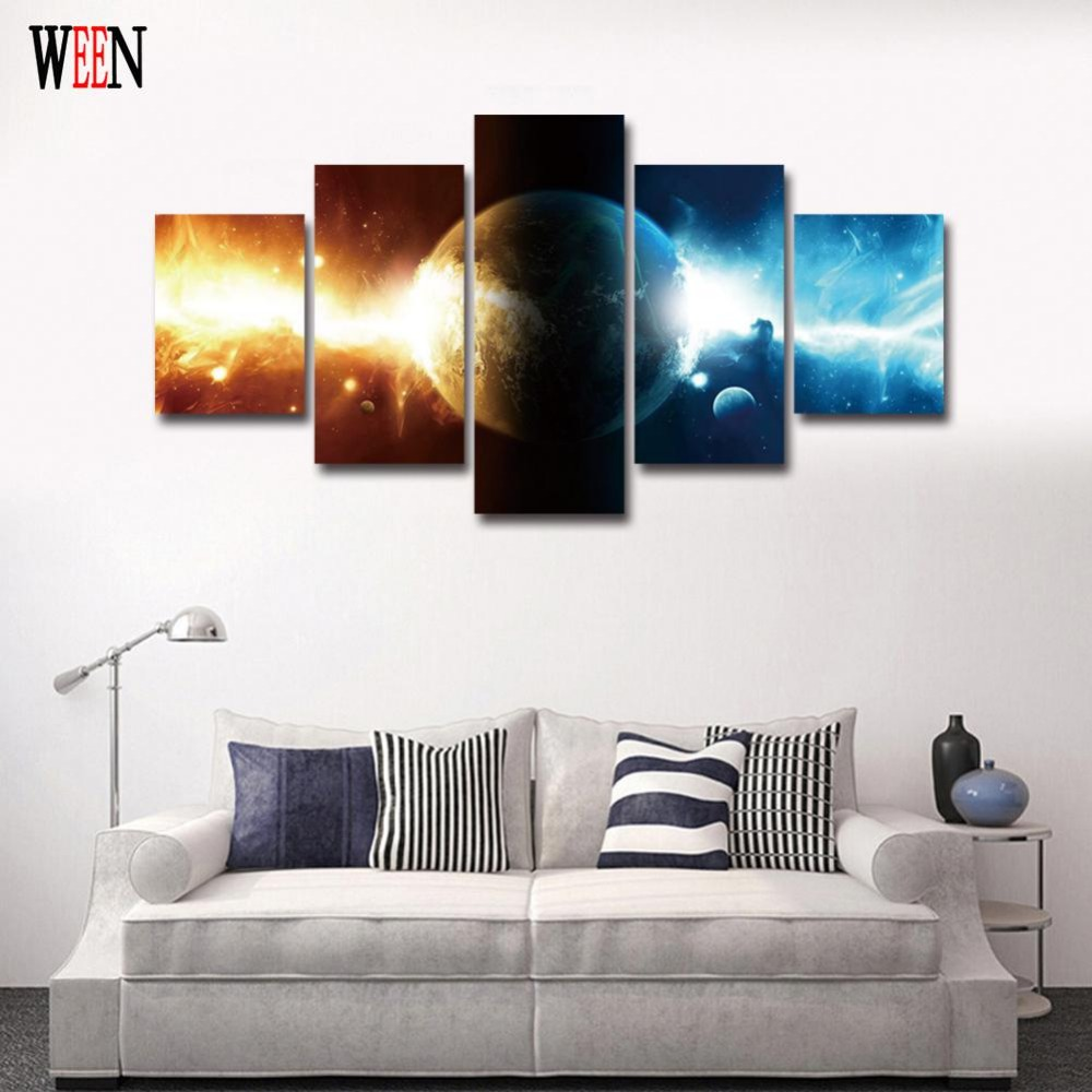 Abstract Planet Canvas Art With Framed Directly Handed Wall Pictures ...