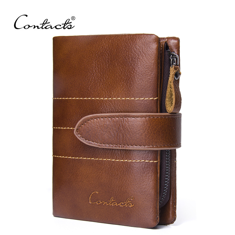 2018 NEW Wallet CONTACT'S Brand Design Hasp and Zipper Genuine Leather Wallets Men Fashion Coin Purses Card Holder Carteira fashion men wallets famous brand genuine leather wallet hasp design wallets with coin pocket purse card holder for men carteira