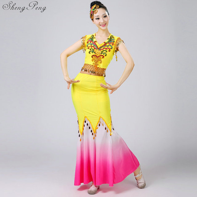e59984f08c80 Chinese Folk Dance Dress Sequins Belly Dance Costume Peacock Dai Fish Tail  Leotard Dancewear 4XL Q365