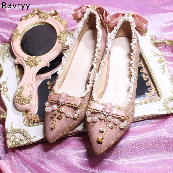 Ricama fiori decor lolita dress Cosplay Donna tacco alto delle scarpe della ragazza carino bianco Perla Punta A Punta Pompe partito femminile scarpe