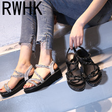 RWHK 2019 summer new sandals female flat bottom wild muffin thick platform waterproof with sequin B245