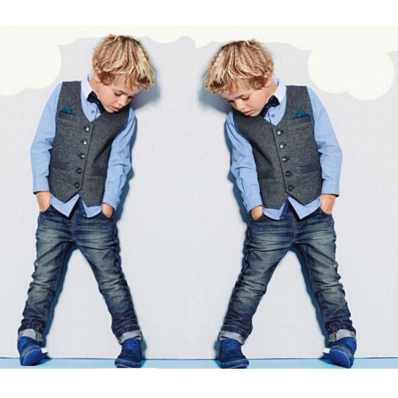 цена на Handsome Boys Denim Clothing Sets Spring Kids Clothes Brands Three Piece Shirt+Vest+Jeans Handsome Conjunto Menino