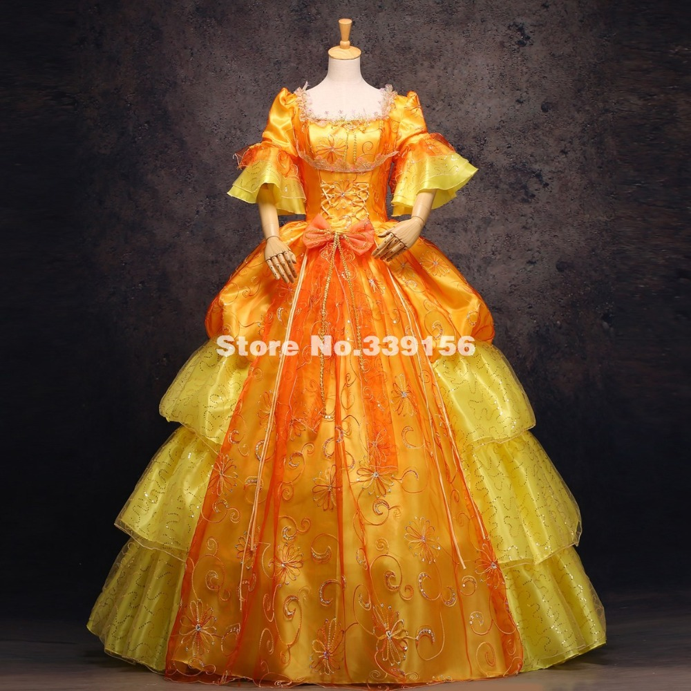 High-end Gold Printed18th Century Renaissance Marie Antoinette Dress European Royal Palace Medieval Victorian Wedding Party Gown