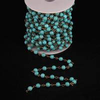 5Meter,Blue Turquoises Smooth Round beads Chain,Link Brass Wire Wrapped Rosary Chain DIY Woman sweater chains Necklace
