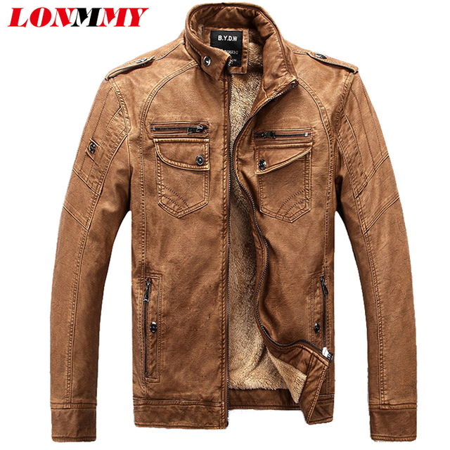 LONMMY M-4XL winter jacket men jaqueta masculina military men jacket veste homme Leather jackets coats men thick velvet men coat
