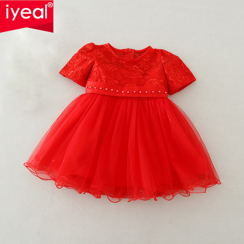Iyeal Baby Girl Baptism Dress Red Infant Princess Dresses