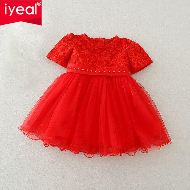 47949adce IYEAL bebé niña bautismo vestido rojo Bebé Vestidos de princesa para la  ocasión Formal 1 año