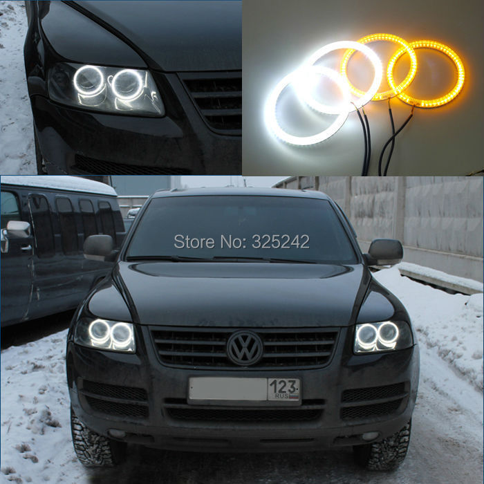 ФОТО For Volkswagen VW Touareg 2004 2005 2006 2007 HALOGEN HEADLIGHT Ultra bright Dual Color Switchback smd LED Angel Eyes kit