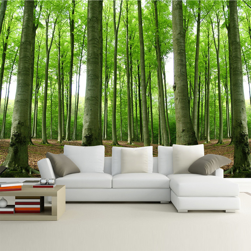 Painting Supplies & Wall Treatments Custom Wall Mural Wallpaper Green Forest 3d Photo Background Wall Decorations Living Room Sofa Bed Room Modern Straw Wallpaper