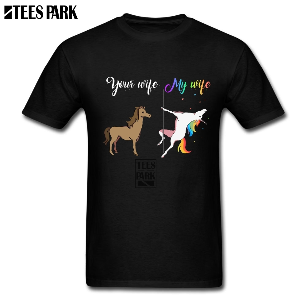 Your Wife My Wife Unicorn You Me Funny T-Shirts Adult Natural Cotton Short Sleeve T Shirt New Arrival Personalisation Cartoon