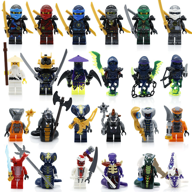 24 pcs/lot NinjagoINGlys figurines blocs NINJA héros Kai Jay Cole Zane Nya Lloyd avec armes Action jouet Figure blocs jouets