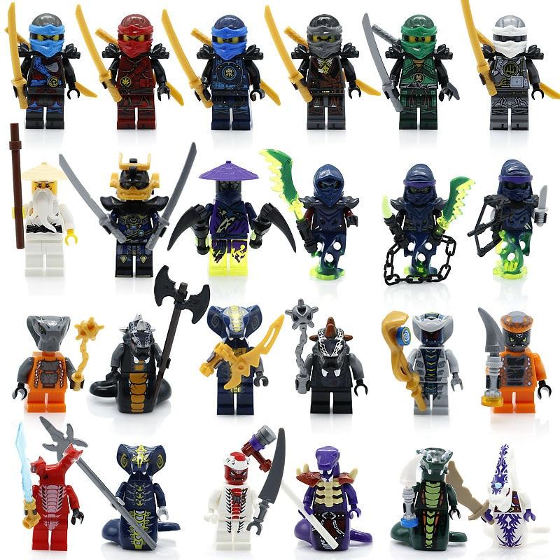 24 unids/lote Compatible LegoINGlys NinjagoINGlys héroes NINJA Kai Jay Cole Zane Nya Lloyd con armas acción juguete figura bloques