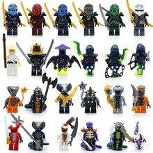 24 pçs/lote Compatível LegoINGlys NinjagoINGlys Heróis NINJA Cole Jay Kai Zane Nya Lloyd Com Armas Blocos de Brinquedo Figura de Ação