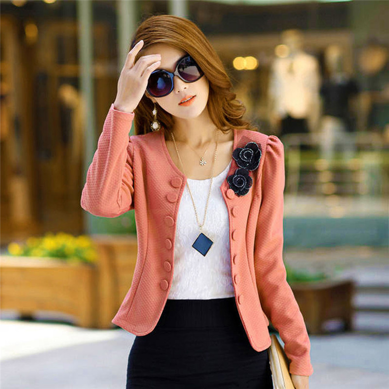#2533 Candy Color Women Fashion Solid Slim round neck small suit double - breasted Casual Suit Coat Jacket Tops D45
