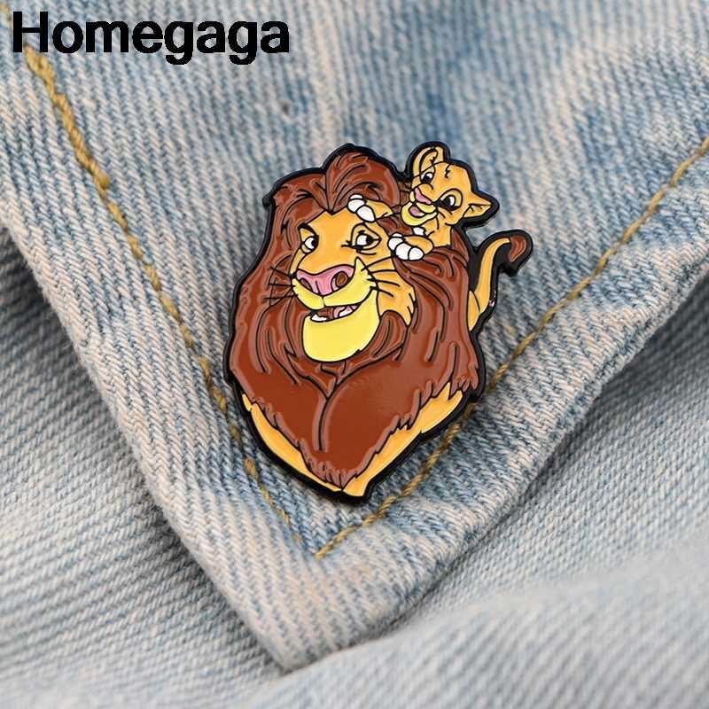 Homegaga Lion king cartoon Metal Zinc Enamel pins Trendy medal backpack shirt clothes bag brooches badges for men women D2203