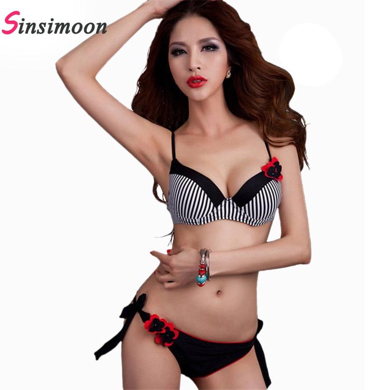 2017 vendita calda strisce bikini set costume da bagno nero sexy delle donne del fiore fasciatura