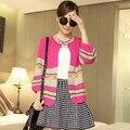 Nuevo 2016 mujeres rayas de colores del arco iris de otoño Tops Knitting más el tamaño de punto suéter Cardigans tricotado rosa, beige, negro