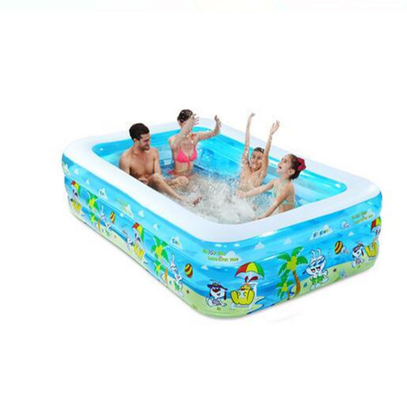 2017 Cheap Large Family Tricyclic Inflatable Pool Summer Water Swimming Play Inflatable Swimming Pool Adult Bathtub Sky Blue environmentally friendly pvc inflatable shell water floating row of a variety of swimming pearl shell swimming ring