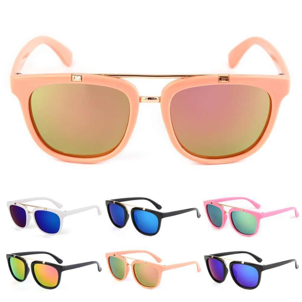 2018 Crianças Revestimento do Espelho Do Vintage Óculos De Sol Shades Baby Boy Meninas Retro Quadrados óculos de Sol De Vidro Marca Designer de Óculos De Sol Luneta de Grandes Dimensões