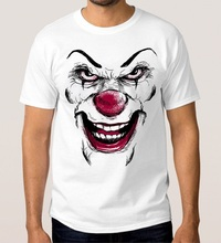 Fashion Sale 100% Cotton Pennywise Scarry Clown T-Shirt Stephen King Crew Neck Fashion Short Sleeve T Shirts For Men king stephen skeleton crew