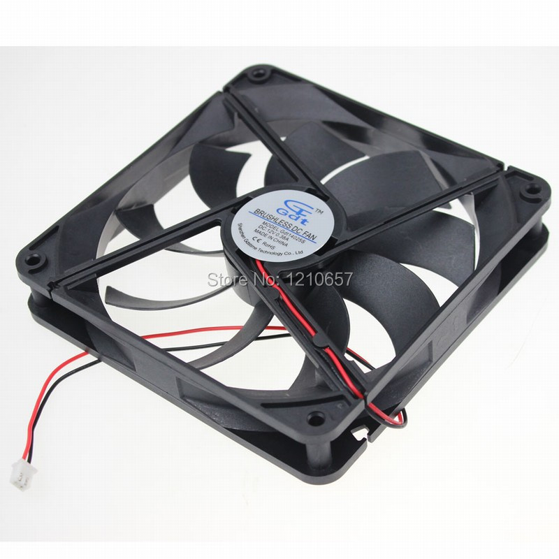 1Pieces GDT DC 12v 2Pin 140MM x 25mm Brushless PC Computer Cooling Fan 75mmx30mm dc 12v 0 24a 2 pin computer pc sleeve bearing blower cooling fan 7530 r179t drop shipping