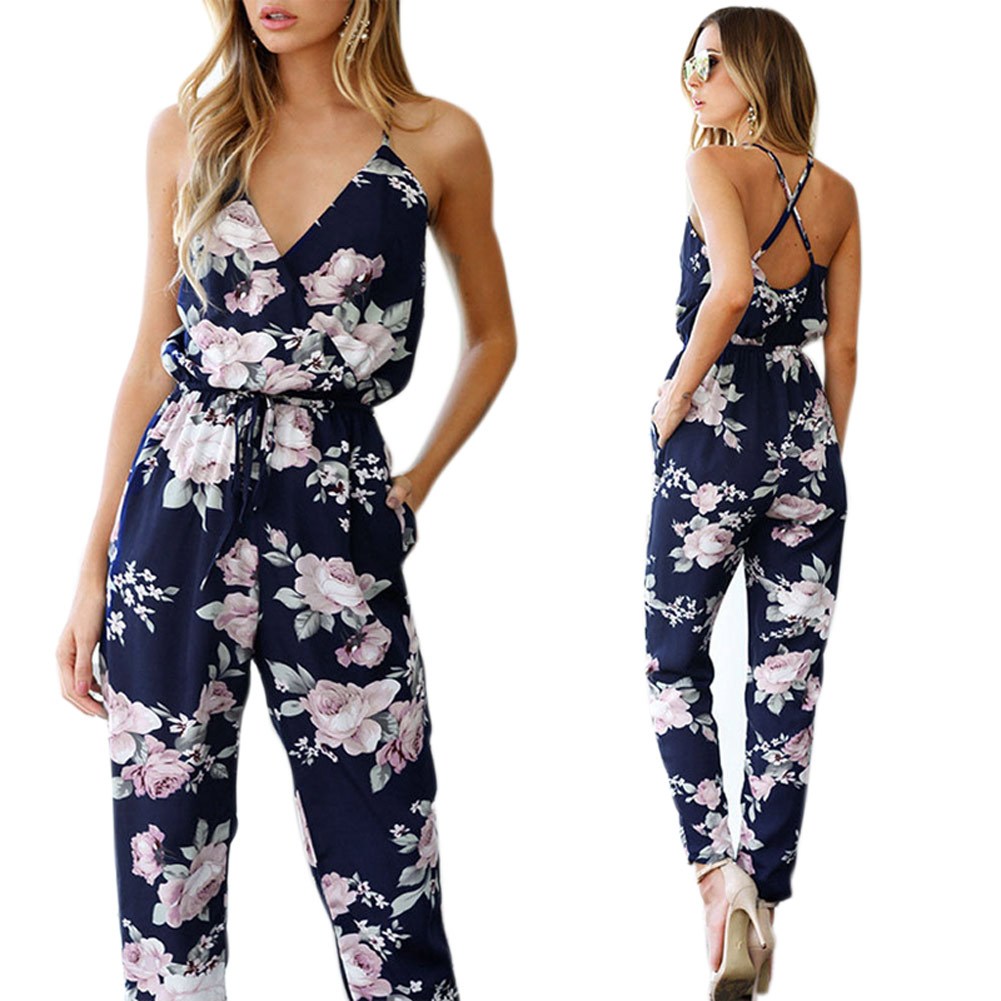 2018 New Fashion Women Summer Floral   Jumpsuit   Strappy Back Cross Print V Neck Sleeveless Female Bodysuit LBY2018