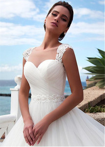Image 4 - Stunning Tulle Jewel Neckline A Line Beach Wedding Dress With Beaded Lace Appliques Crystals Belt Bridal Gowns
