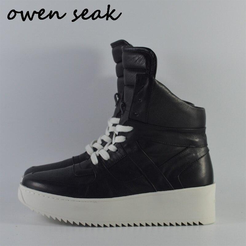 Owen Seak hommes chaussures en cuir véritable haut bottines de luxe formateurs bottes décontracté à lacets appartements chaussures de brouillard noir grande taille    1