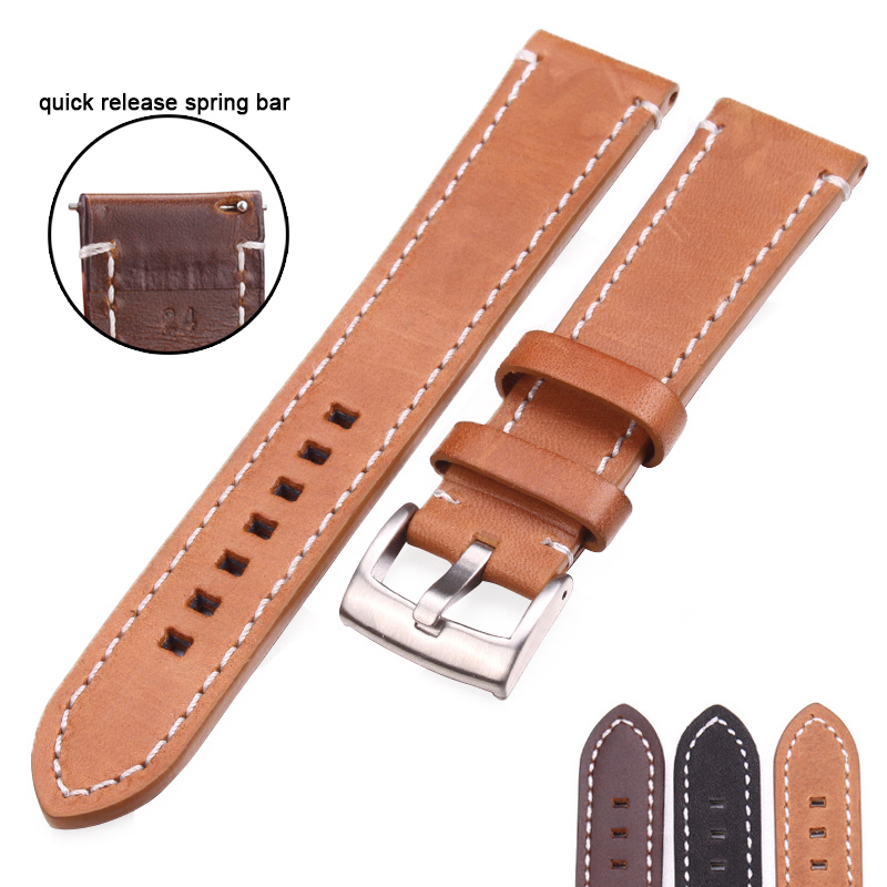 Cowhide Watchband 18 20 22 24mm Vintage Genuine Leather Replacement Watch Band Strap With Bruhsed Stainless Steel Buckle