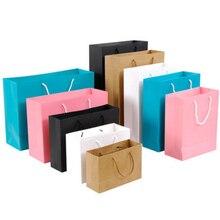 10 шт подарочный бумажный пакет на заказ подарочная одежда хозяйственная Сумка крафт-бумага точечная печать логотипа сплошной цвет черный белый розовый
