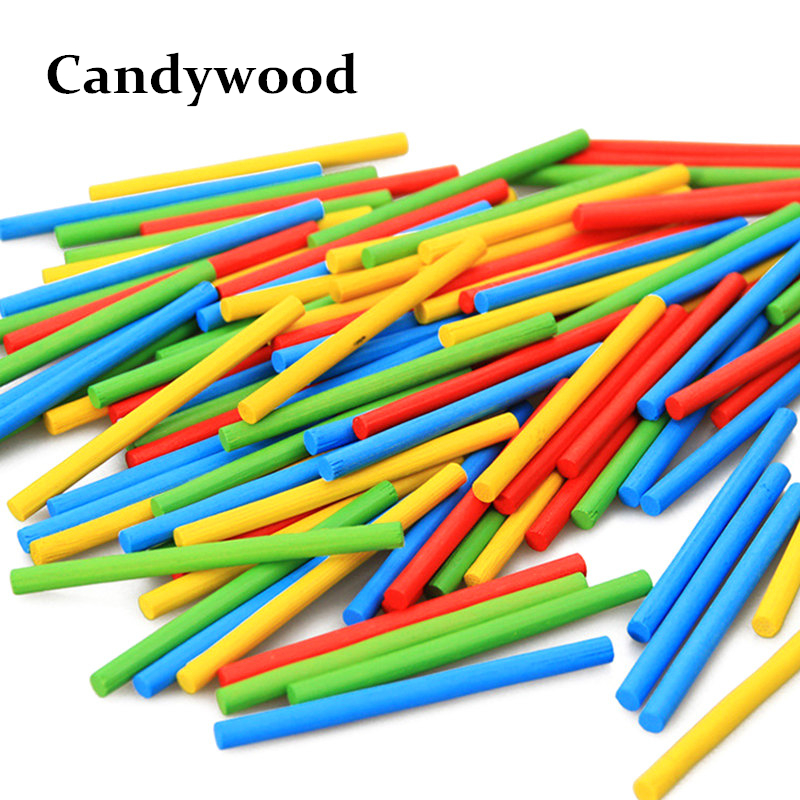 100Pcs/Pack Kids Toys Colorful Wood sticks Montessori Educational Toys Mathematical Intelligence Stick Math Toy 50pcs hot sale wooden intelligence stick education wooden toys building blocks montessori mathematical gift baby toys